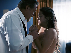 Dick Chibbles licked the pussy of Alina Lopez gently on the table