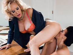 Gorgeous lesbian MILFs hot office lesbian sex
