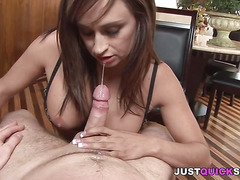 Cock-hungry cougar in blowjob porn