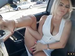 Fake Taxy Driver cum a lot in my mouth Public masturbation