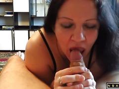 Blowjob masturbate cum on big tits mature couple