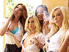 VR BANGERS Naughty college girls invite you to their sex room