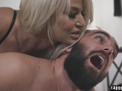 Milf London River spanks Logan's ass before she bangs her meaty cock