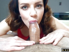 Wife in pantyhose after work makes footjob and gets fucked hard