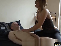 Very sexy milf does super hot massage handjob and blowjob