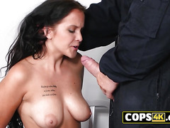 Horny European babe is getting fucked for breaking the law!