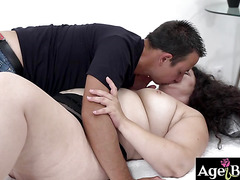 Rob makes granny Lili's pussy dripping wet