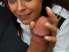 Latina Stewardess And Her Used Clothes At The Pawnshop