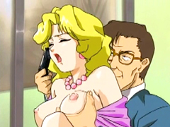Busty hentai gets squeezed her bigtits