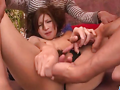 Tsubasa Aihara likes having two cocks to play with