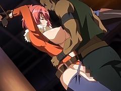 Tied up hentai girl gets gangbanged