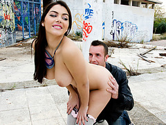 Italian beauty Valentina Nappi outdoors