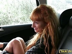 Redhead Liza flashes and fucked in taxi