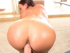 Alluring babe Rahyndee James rides cock