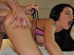 Skanky gf Adriana Lynn first time anal