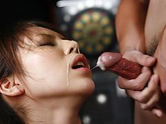 Office bimbo, Rino Asuka, blows on a big dick