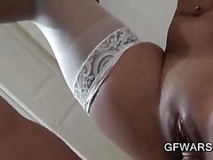 Stockinged Asian GF riding horny schlong