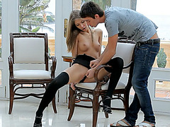 Slim teen pornstar gets fucked hard and awarded with cumshot