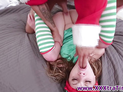 Tiny teen elf gets facial