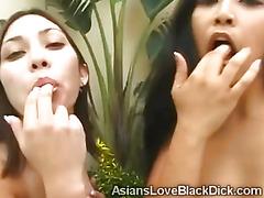 2 Slutty Asian friends team up to suck a huge cock
