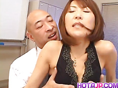 Jun Kusanagi Asian maid gets anal fingering before sucking cock and fucking