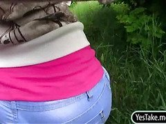 Eurobabe Lana pounded in public place