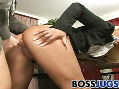 Busty boss babe Candy Manson gets banged