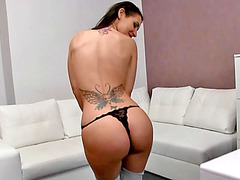 Sweet looking Jess pussy banged on couch