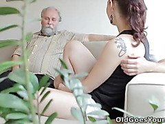 Ilona and her man are sharing a good time when he invites his older friend over