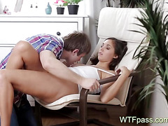 Sweet couple chair lovemaking