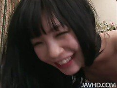 Cute Japanese idol Mizutama Remon takes on two hard dicks with her tight pink trimmed pussy.