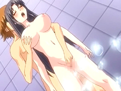 Busty hentai fingering and hot fucking wetpussy in the shower