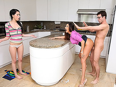 Ariella gets pounded hard in the kitchen