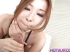Nana Otone licks, strokes and fucks shlong