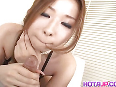 Nana Otone licks, strokes and fucks shlong