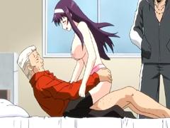 Japanese hentai sucking and riding her boss bigcock