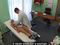 Blonde Janna gets healed by doctors cock