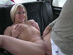 Hot blonde euro amateur gets slammed inside the taxi and receives cumshot