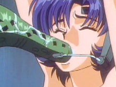 Caught hentai gets monster tentacles drilled