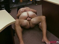 Busty Cuban chick fucked in a pawnshop