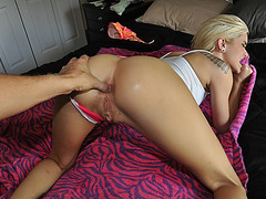 Nasty gf Macy tries out painful anal sex while being filmed