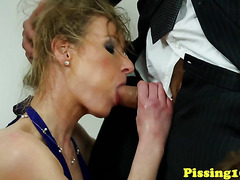Classy piss fetish sluts closeup in threeway