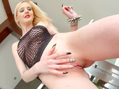 Cute gothic girl Alice D fingering her shave pussy