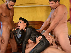 Romi got fucked anal in a hot double crossing gangbang