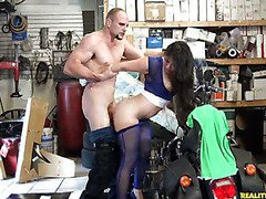 Sofia gets Fucked in the back of her Dads rim shop