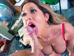 Busty Lexi Lowe facialed by police crew