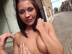 Hot and horny lost girl gets fucked hard by a stranger in the factory