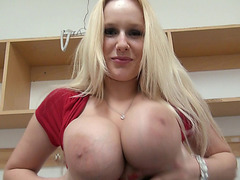 Busty blonde Czech girl anal for money