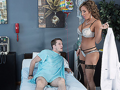 Horny doctor gives Brick a blowjob just a few feet away from his wife