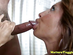 Tugging loving busty mature jacking off lucky dude